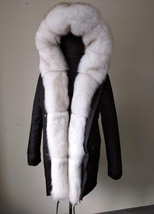 Парка куртка з натуральним хутром натуральным мехом песец