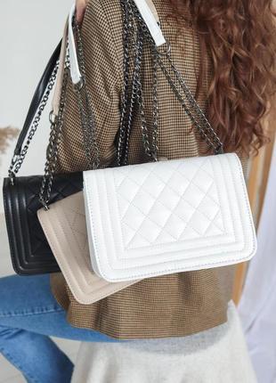 Белый клатч стеганый клатч с цепочкой наплечная сумка стеганая сумка на цепочке