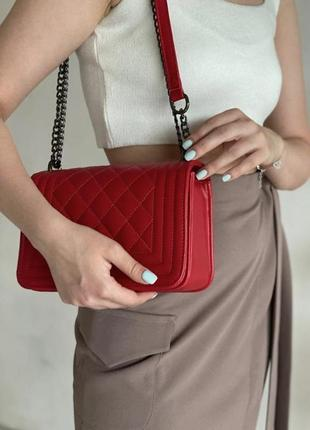 Красный клатч стеганый клатч с цепочкой наплечная сумка стеганая сумка на цепочке