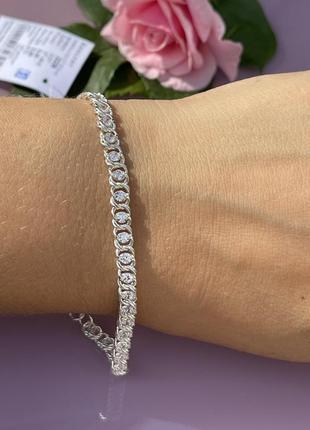 Браслет серебро с цирконами, серебряный браслет