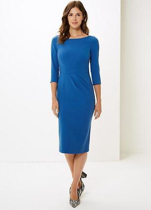 Роскошное фирменное платье миди ниже колена длинный рукав стрейч футляр супер качество!!!