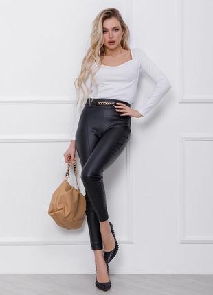 Кожаные брюки лосины со стрелками высокие чёрный, серый