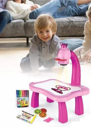 Детский столик-проектор для рисования розовый и синий для мелкой моторики и межполушарного развития