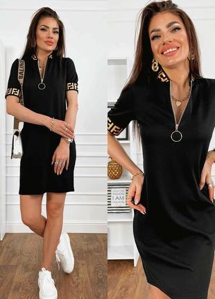 Платье женское мини короткое летнее демисезон свободное легкое черное