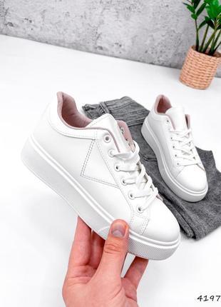 Рр 36-41. белые кроссовки кеды с цветными вставками
