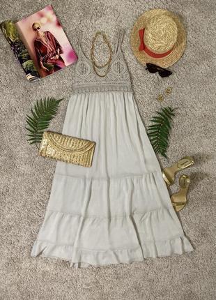 Распродажа!!! нежное милое натуральное макси платье #454