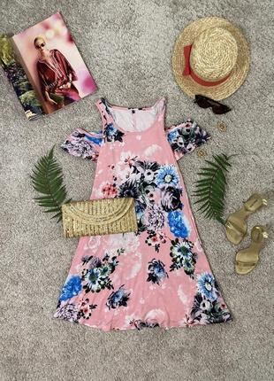 Распродажа!!! нежное натуральное платье футболка в цветочный принт #465