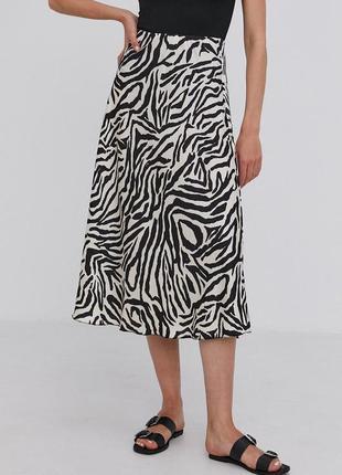 Полрсатая миди юбка спідниця в принт зебра полоску анималистичный