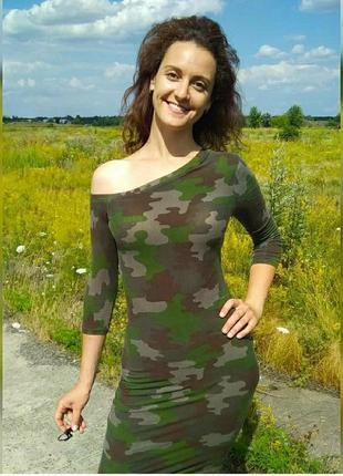 Трикотажное платье на одно плечо