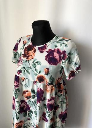 Короткое платье-туника «розы на зеленом»