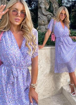 Платье женское батал миди летнее длинное легкое шифоновое цветочное