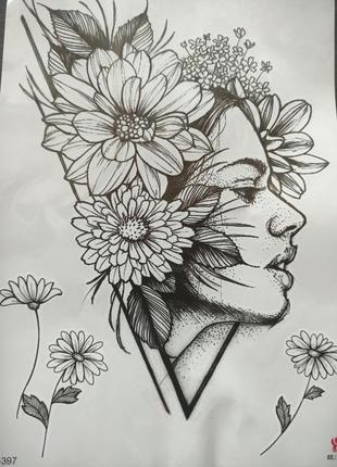 Татуировки для тела, девушка, цветок, tatoo