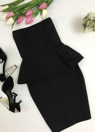 Черное платье с баской,,миди.