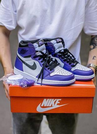 Шикарные кроссовки унисекс nike air jordan retro 1 high court purple наложка