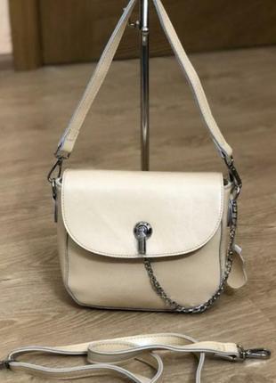Стильная кремовая кожаная сумочка,дорогая серия
