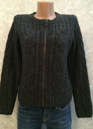 Кофта вязаная на молнии свитер шерсть marks&spencer