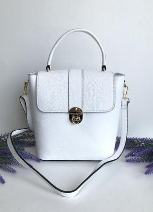 Сумка женская италия натуральная кожа genuine leather белая чемоданчик на длинном ремешке через плечо кроссбоди молоко vera pelle