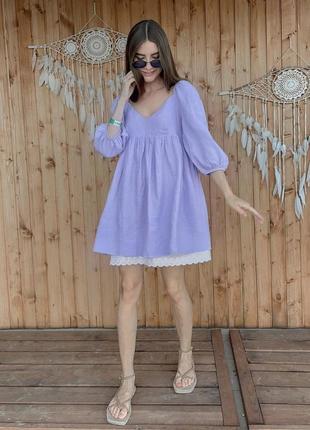 Лиловое платье мини сарафан с кружевом