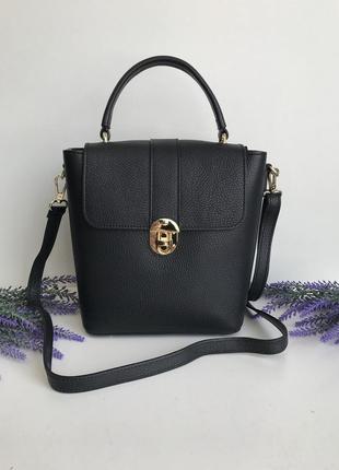 Сумочка чемоданчик женская на длинном ремешке через плечо чёрная италия genuine leather короткая ручка тёмно-серый чёрный vera pelle