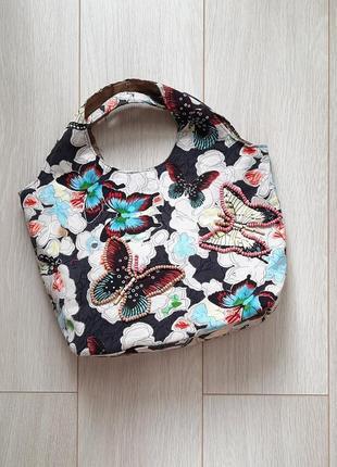 Маленькая сумка, сумочка пляжная, летняя, мини, бабочки