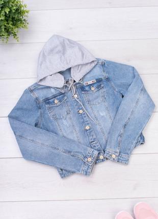 Джинсовая куртка с капюшоном/размеры: xs, s, m, l, xl, 2xl