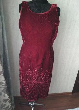 Винтажное бархатное платье вышивка