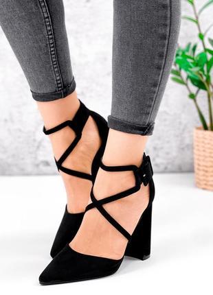 Туфли чёрные эко-замша