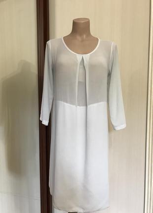 Шифоновая туника прозрачная, блуза длинная, италия