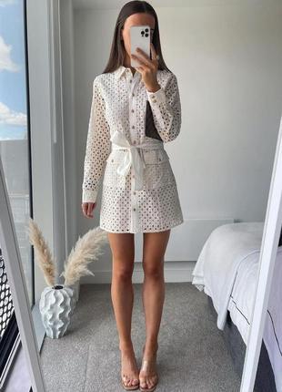 Платье на пуговицах под пояс коттон с подкладкой zara xs s