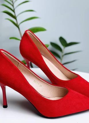 Туфли лодочки эко-замш красный
