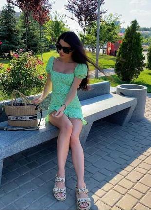 Платье зеленое в цветы ромашки под пояс льон вискоза zara xs s m