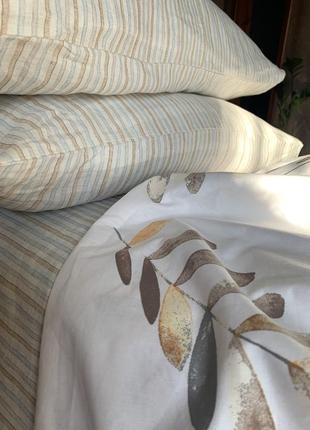 Комплект двухспальный, полуторный, евро. ранфорс, лен. постель в полоску