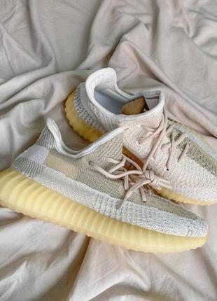 Шикарные кроссовки унисекс adidas yeezy boost 350 v2 natural наложка