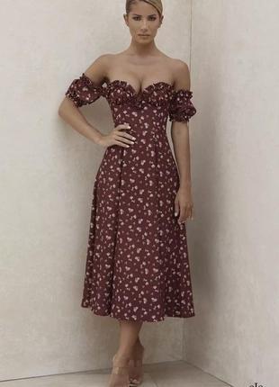Сарафан с открытыми плечами цветочный принт бордо марсала