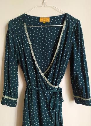Noa noa винтажное шелковое платье в горошек