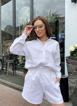 Женский льняной костюм с шортами😻