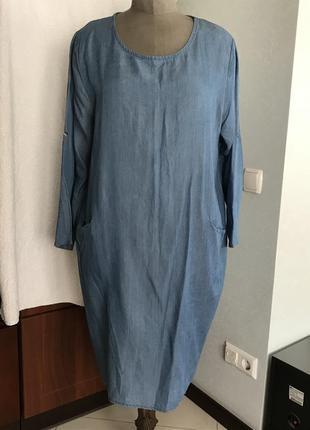 Лёгкое джинсовое платье батального размера - 52 - 54 - 56