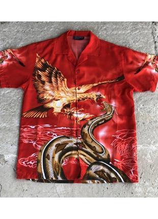 Красная яркая оверсайз рубашка с огнем змеей драковом орлом унисекс винтажная гавайка