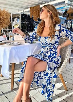 Платье миди синее в белые цветы с разрезом атласное  zara m l