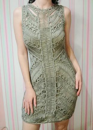 Платье сетка вязаное по фигуре topshop