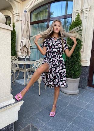 Платье женское нарядное миди летнее легкое цветочное длинное6 фото