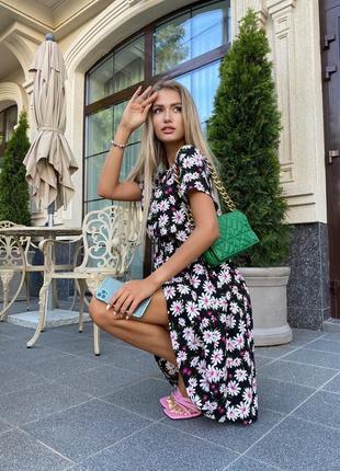 Платье женское нарядное миди летнее легкое цветочное длинное7 фото
