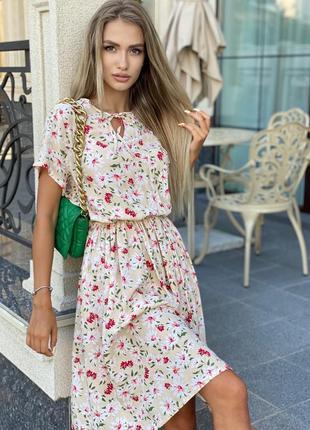 Платье женское нарядное миди летнее легкое цветочное длинное8 фото