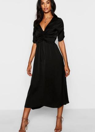 Ликвидация 🔥❤️сатиновое платье мидакси с присобранными деталями и разрезом сбоку boohoo