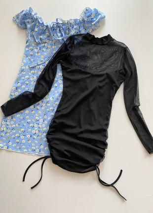 Вечернее платье-сеточка со сборкой сбоку