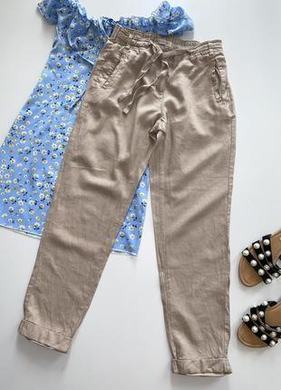 Льняные, летние брюки с карманами на завязке 57% лён!!!