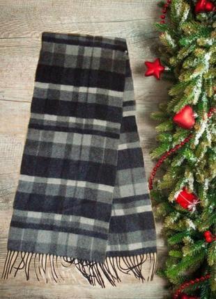 ⛄⛄100% шерсть роскошный мужской шарф черно серый с бахромой⛄⛄