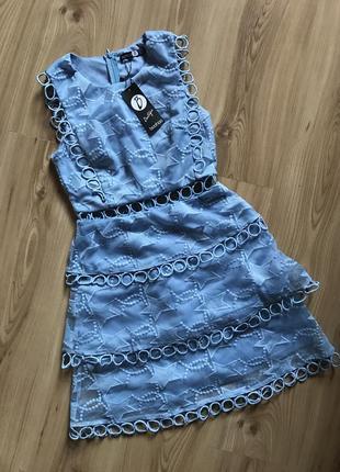 Ликвидация 🔥❤️шикарное голубое вечернее платье из органзы boohoo boutique