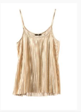 Майка/блуза/топ плиссе золото