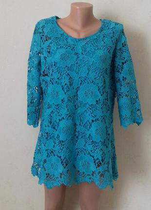 Красивая бирюзовая кружевная блуза,блузы и платья разных размеров, большой выбор